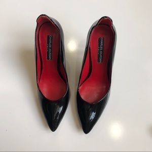Charles Jourdan Patent Black Pointed Shoes